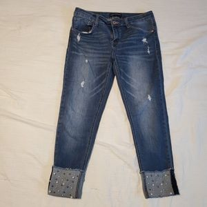 Girls size 16 cuffed pearl jeans